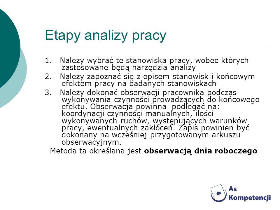 Etapy analizy pracy 1. Należy wybrać te stanowiska pracy, wobec których zastosowane będą narzędzia analizy.