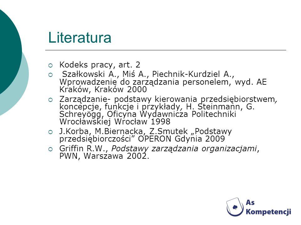 Literatura Kodeks pracy, art. 2
