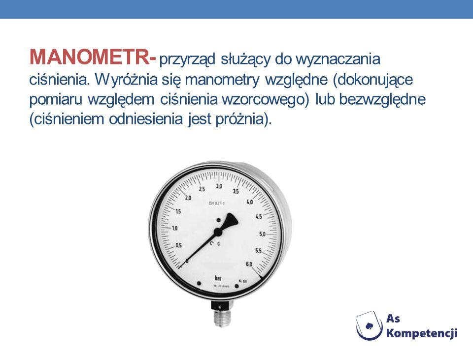 MANOMETR- przyrząd służący do wyznaczania ciśnienia