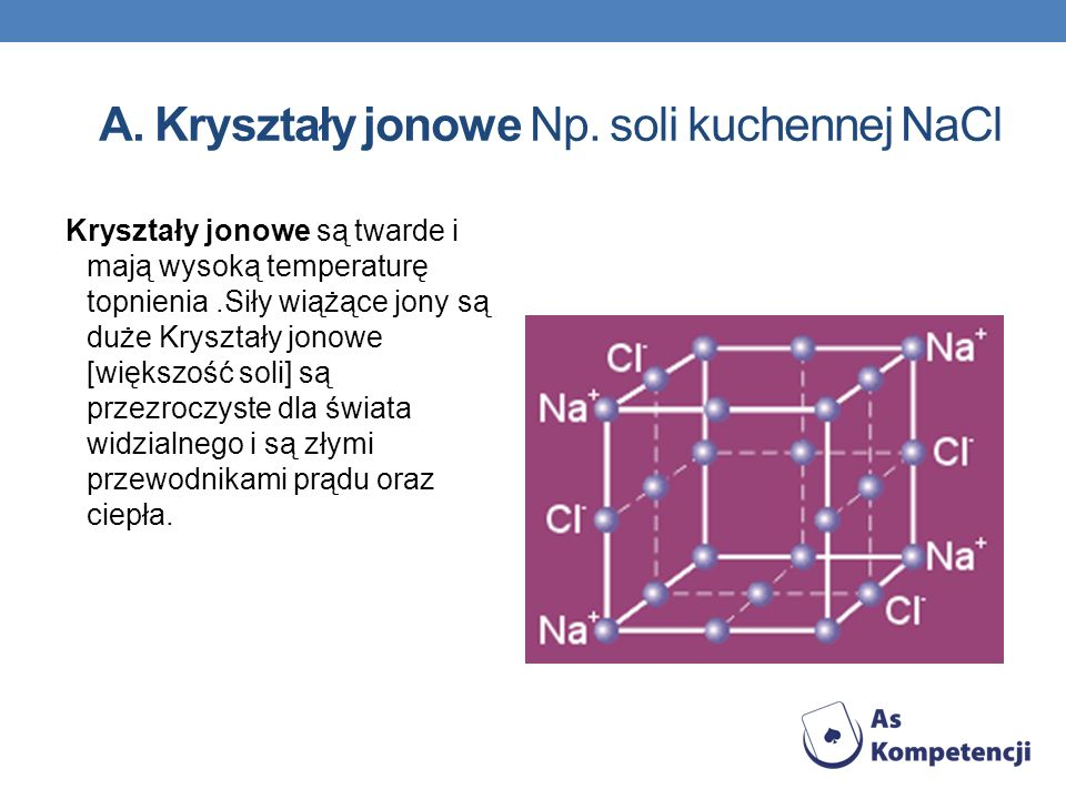A. Kryształy jonowe Np. soli kuchennej NaCl