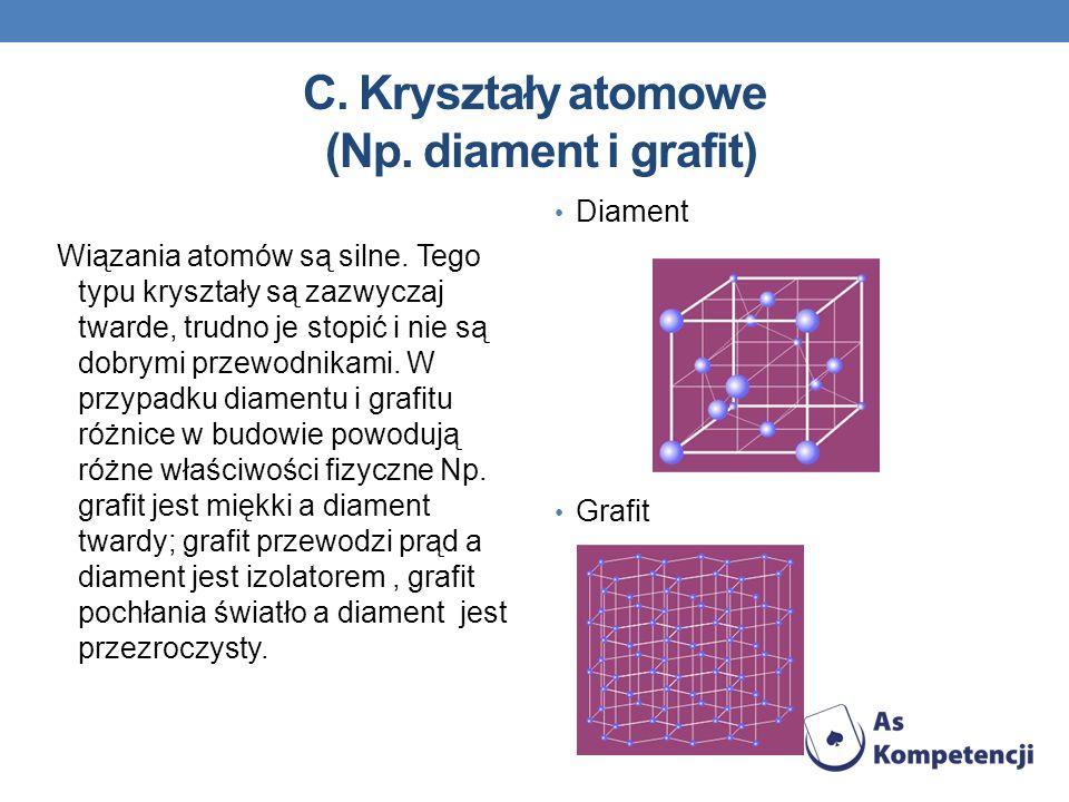 C. Kryształy atomowe (Np. diament i grafit)