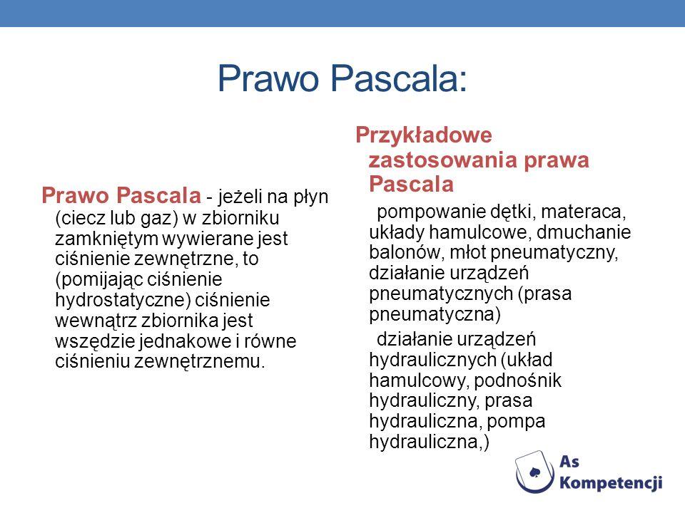 Prawo Pascala: Przykładowe zastosowania prawa Pascala
