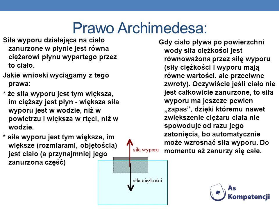 Prawo Archimedesa: Siła wyporu działająca na ciało zanurzone w płynie jest równa ciężarowi płynu wypartego przez to ciało.