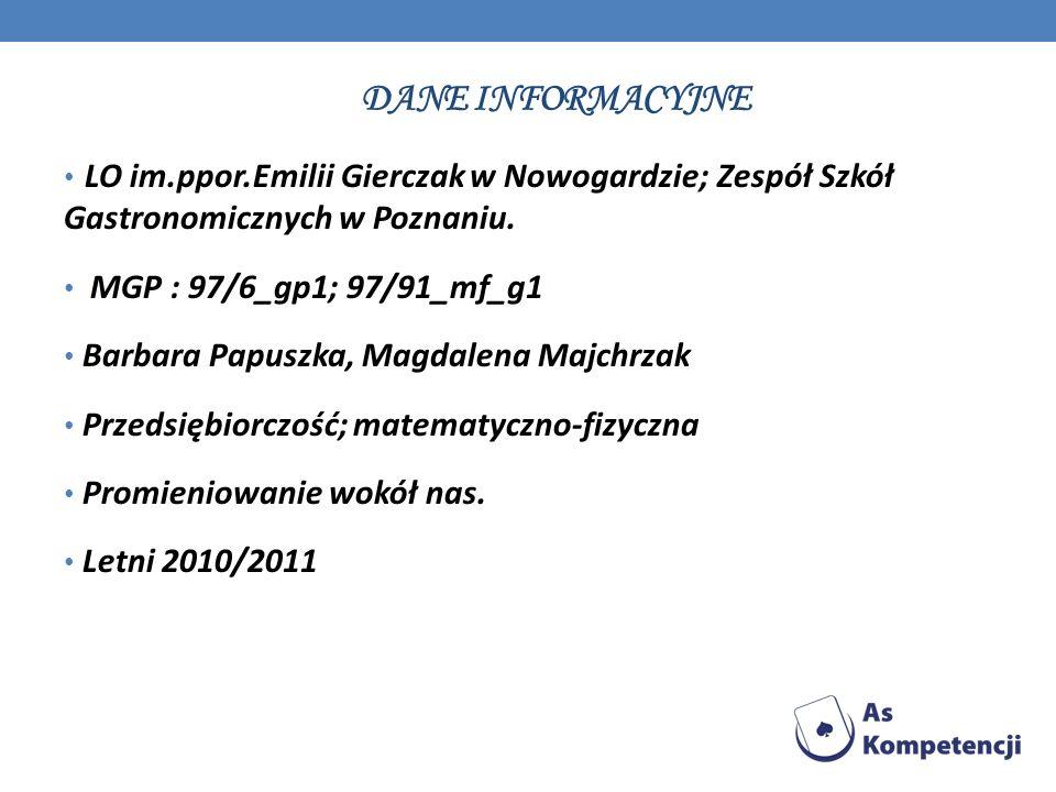 Dane INFORMACYJNELO im.ppor.Emilii Gierczak w Nowogardzie; Zespół Szkół Gastronomicznych w Poznaniu.