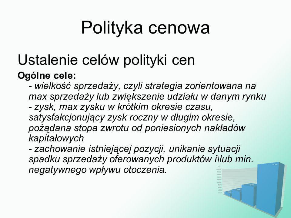 Polityka cenowa Ustalenie celów polityki cen