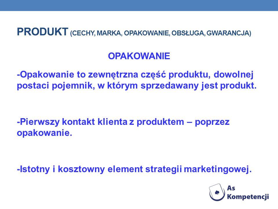 Produkt (cechy, marka, opakowanie, obsługa, gwarancja)