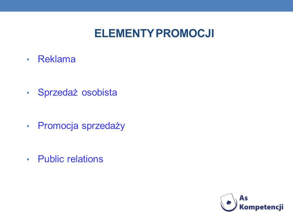 Elementy promocji Reklama Sprzedaż osobista Promocja sprzedaży