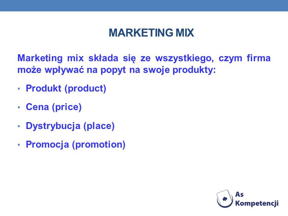 Marketing mix Marketing mix składa się ze wszystkiego, czym firma może wpływać na popyt na swoje produkty: