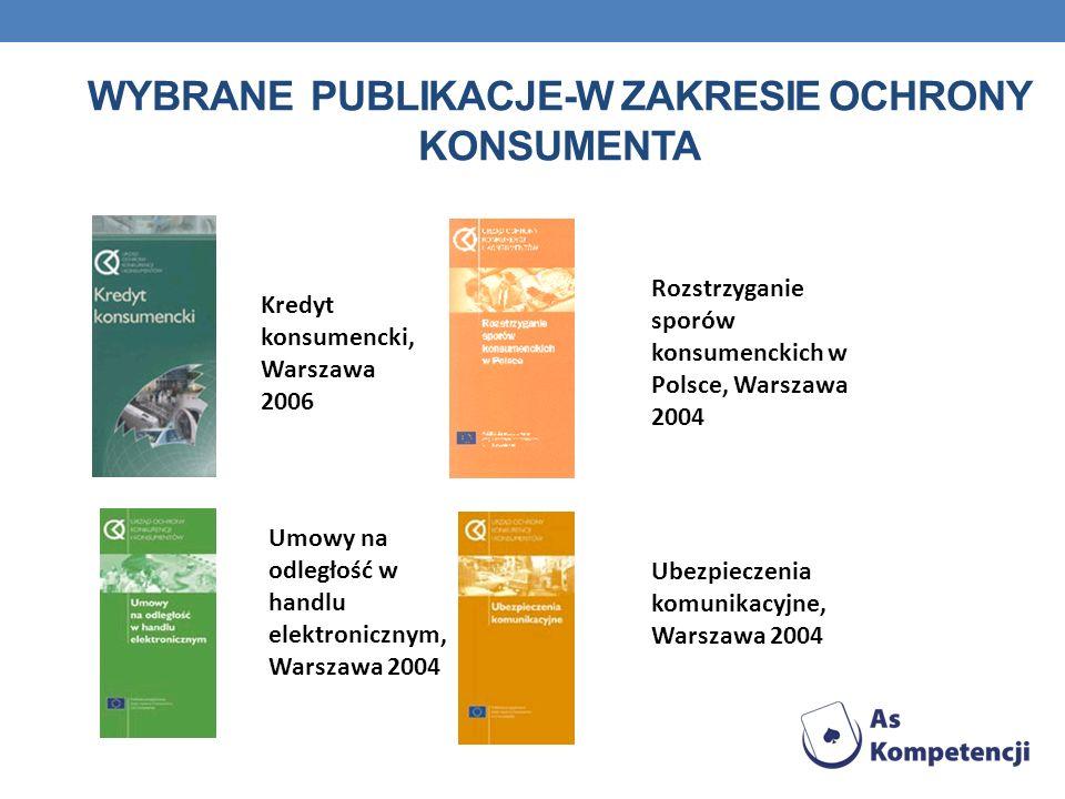 WYBRANE PUBLIKACJE-w zakresie OCHRONY KONSUMENTA