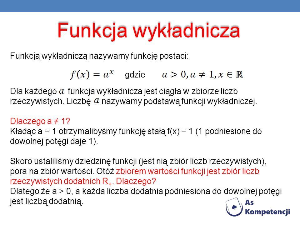 Funkcja wykładnicza Funkcją wykładniczą nazywamy funkcję postaci: