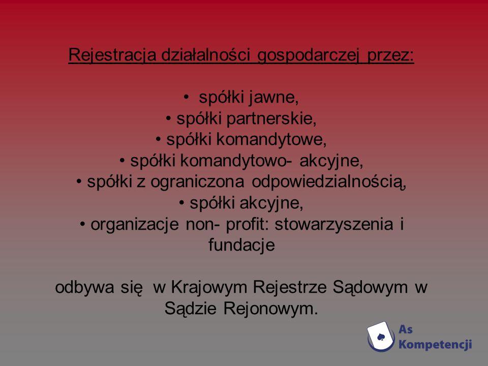 Rejestracja działalności gospodarczej przez: spółki jawne,
