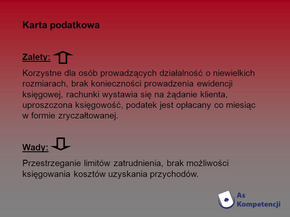 Karta podatkowa Zalety: