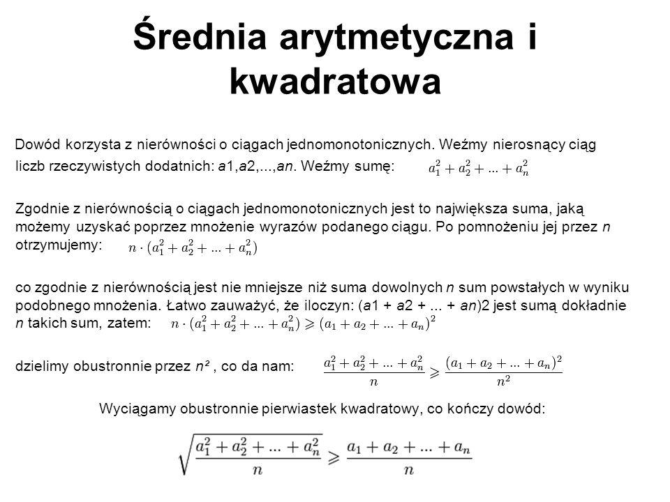 Średnia arytmetyczna i kwadratowa
