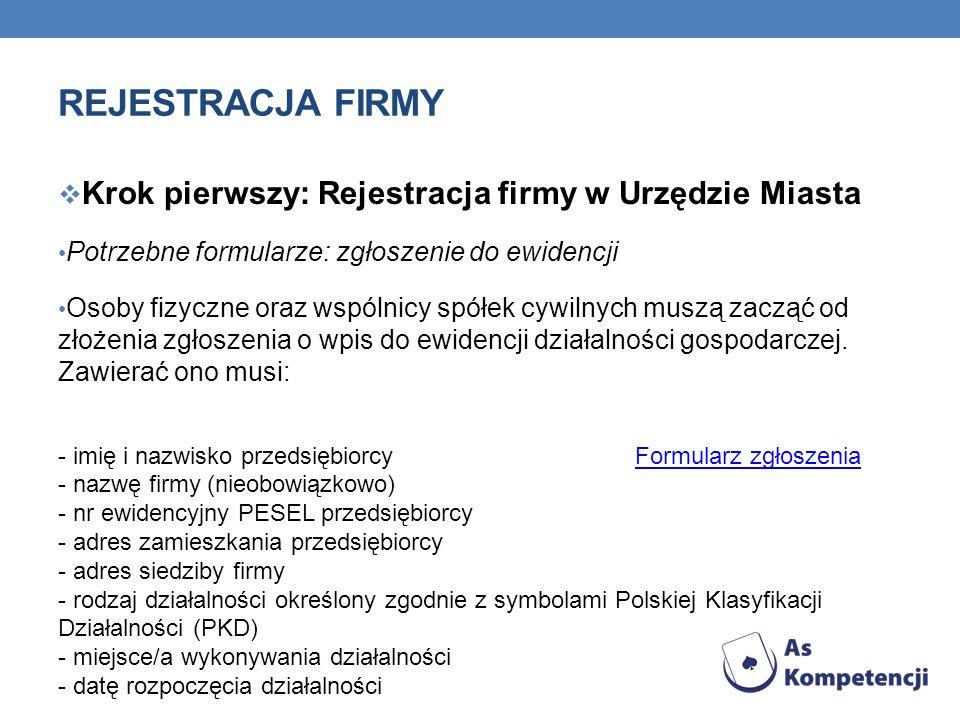 Rejestracja firmy Krok pierwszy: Rejestracja firmy w Urzędzie Miasta