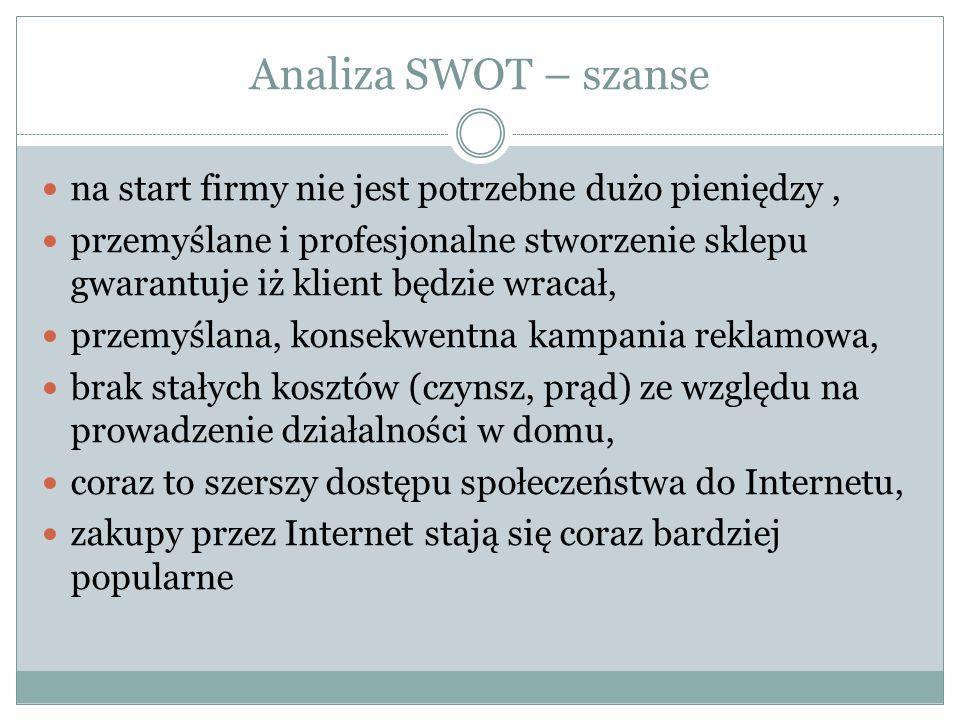 Analiza SWOT – szanse na start firmy nie jest potrzebne dużo pieniędzy ,