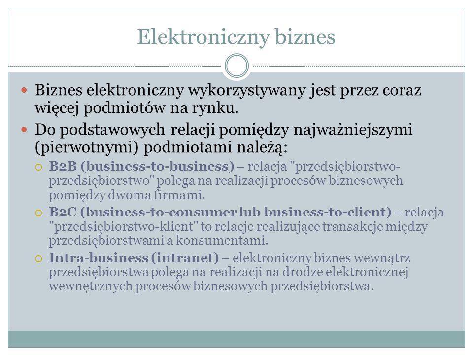 Elektroniczny biznes Biznes elektroniczny wykorzystywany jest przez coraz więcej podmiotów na rynku.