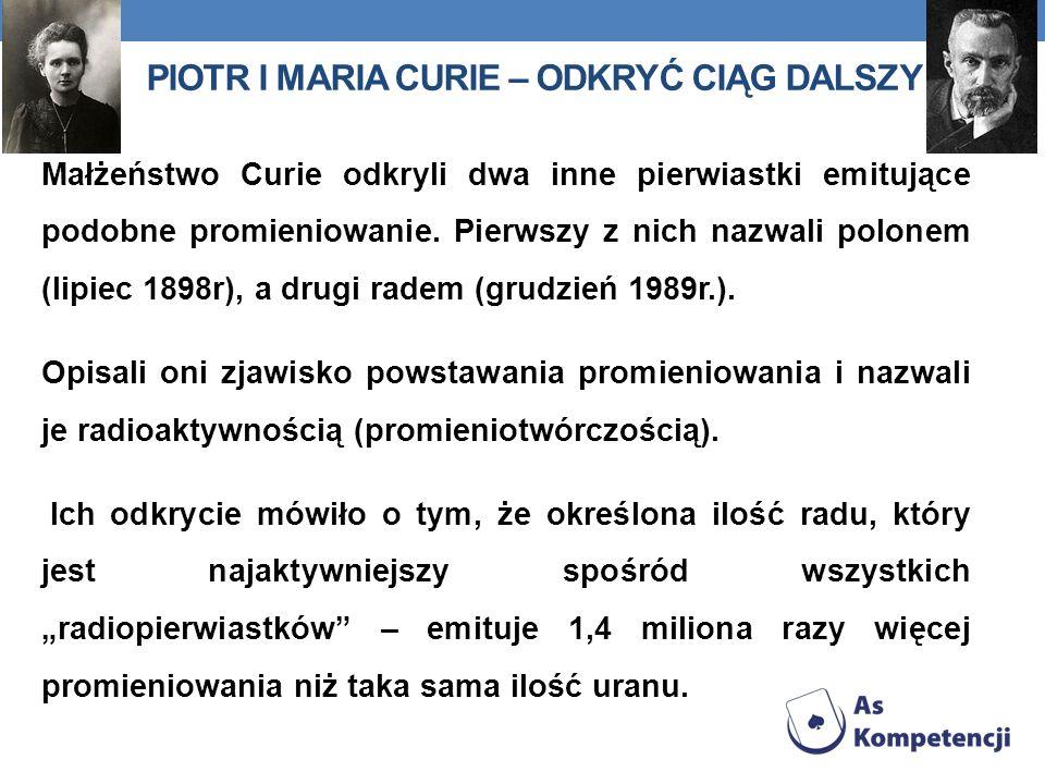 Piotr i Maria Curie – odkryć ciąg dalszy