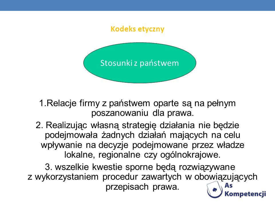 1.Relacje firmy z państwem oparte są na pełnym poszanowaniu dla prawa.