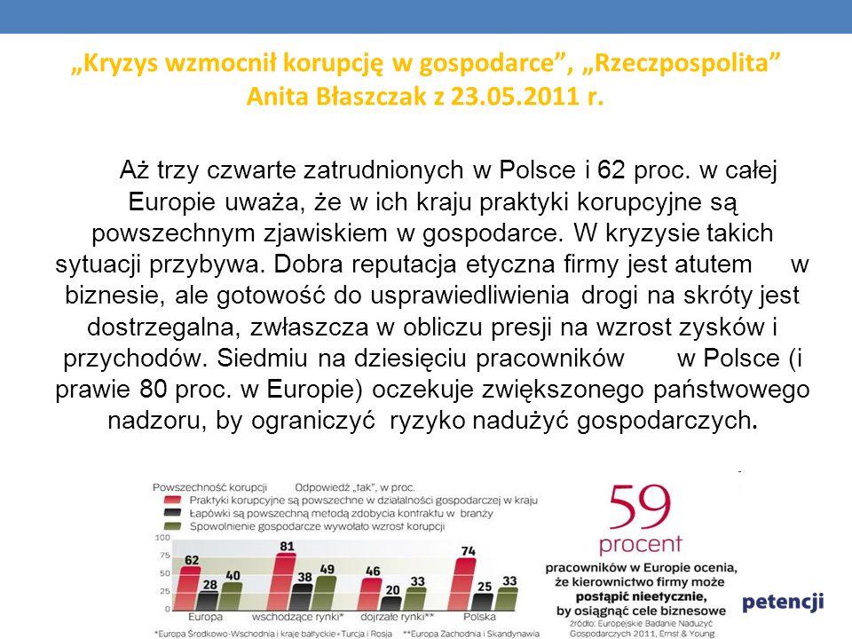 """""""Kryzys wzmocnił korupcję w gospodarce , """"Rzeczpospolita Anita Błaszczak z 23.05.2011 r."""