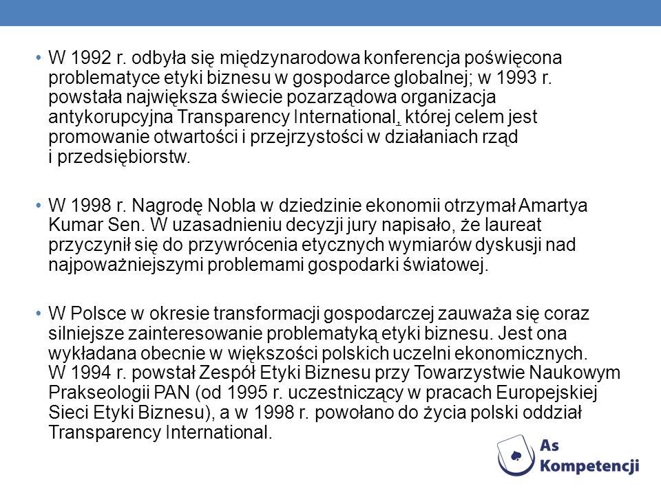 W 1992 r. odbyła się międzynarodowa konferencja poświęcona problematyce etyki biznesu w gospodarce globalnej; w 1993 r. powstała największa świecie pozarządowa organizacja antykorupcyjna Transparency International, której celem jest promowanie otwartości i przejrzystości w działaniach rząd i przedsiębiorstw.