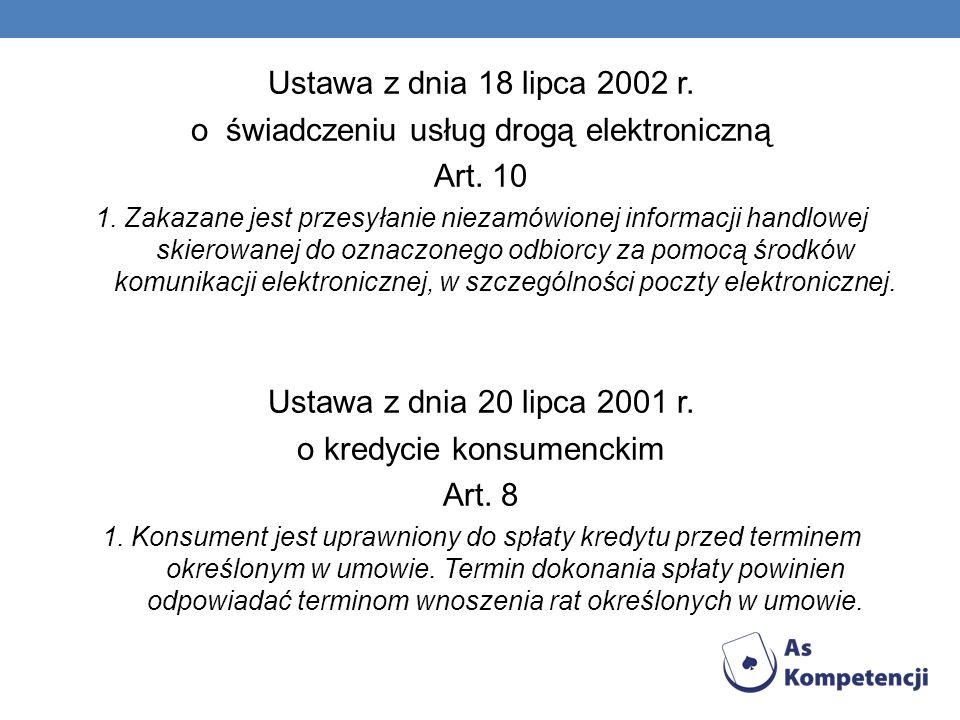 o świadczeniu usług drogą elektroniczną Art. 10