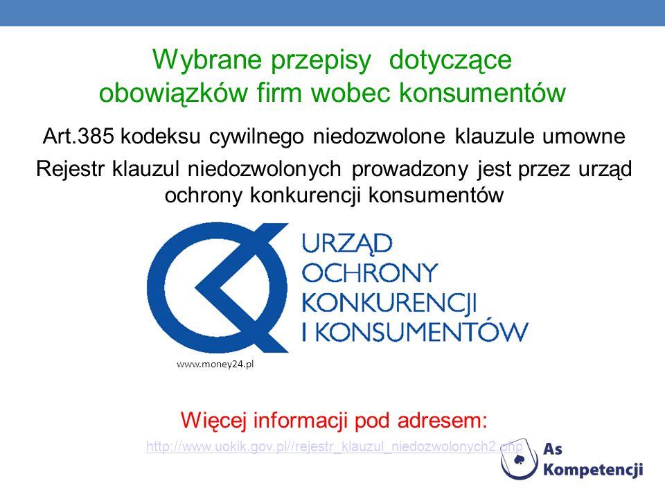Wybrane przepisy dotyczące obowiązków firm wobec konsumentów