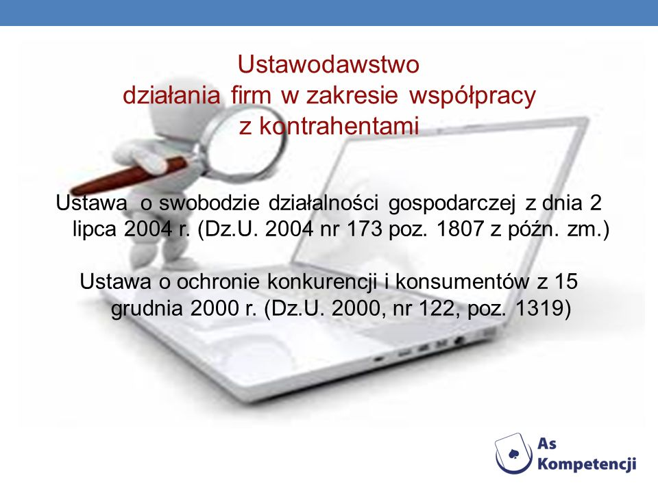 Ustawodawstwo działania firm w zakresie współpracy z kontrahentami