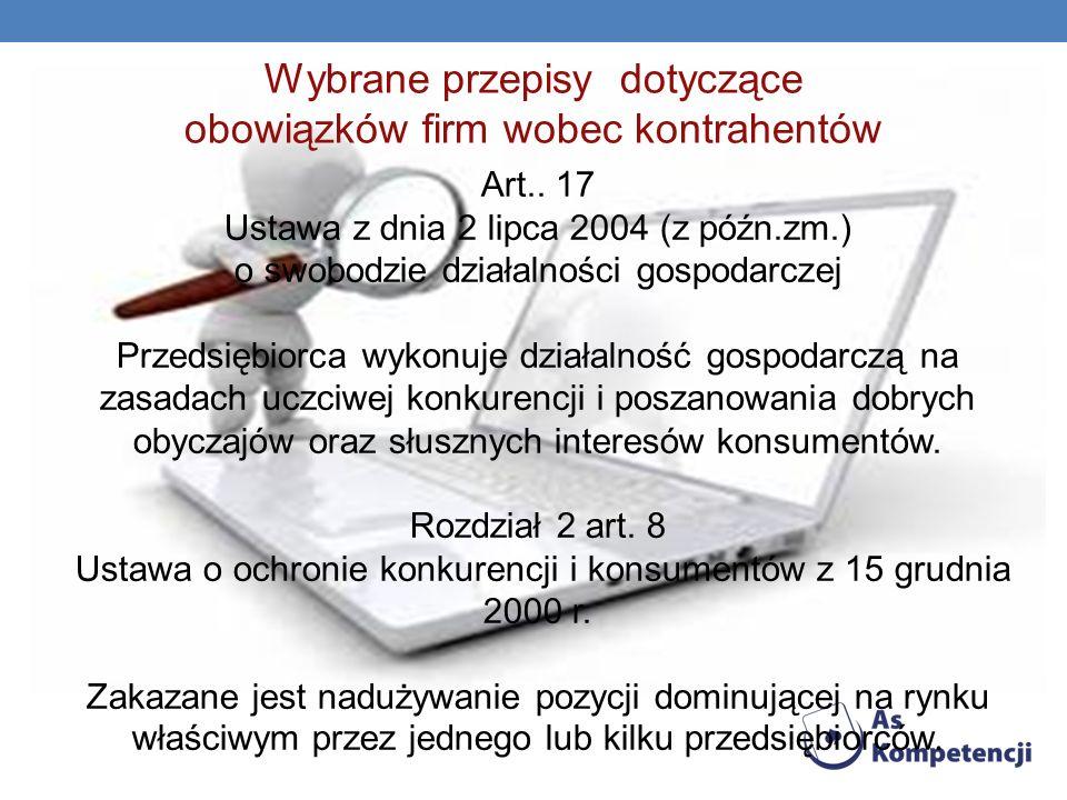Wybrane przepisy dotyczące obowiązków firm wobec kontrahentów