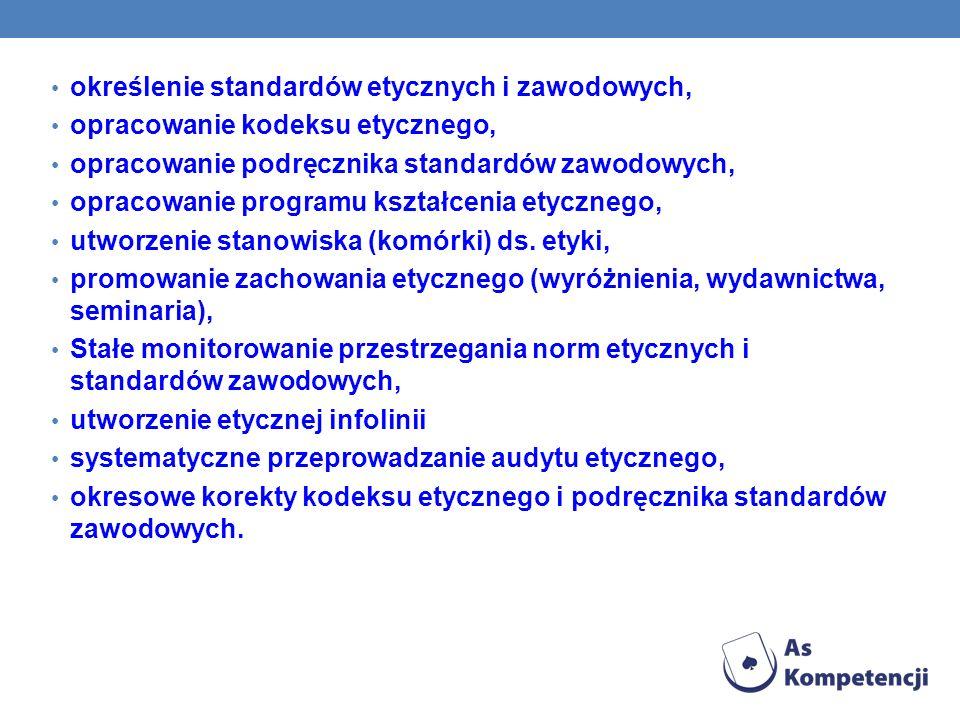 określenie standardów etycznych i zawodowych,
