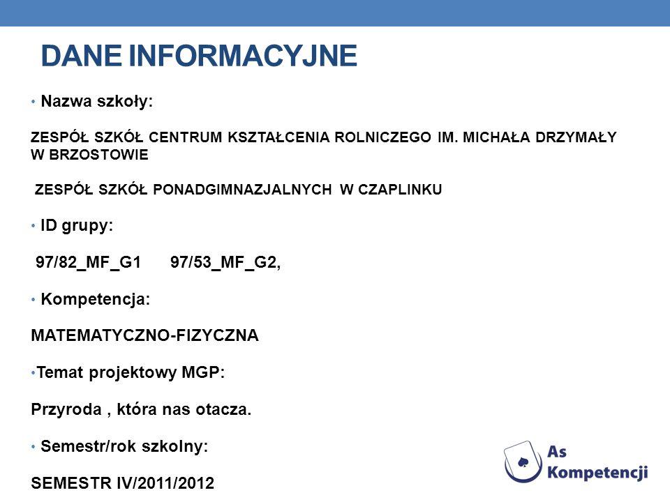 DANE INFORMACYJNE Nazwa szkoły: ID grupy: 97/82_MF_G1 97/53_MF_G2,
