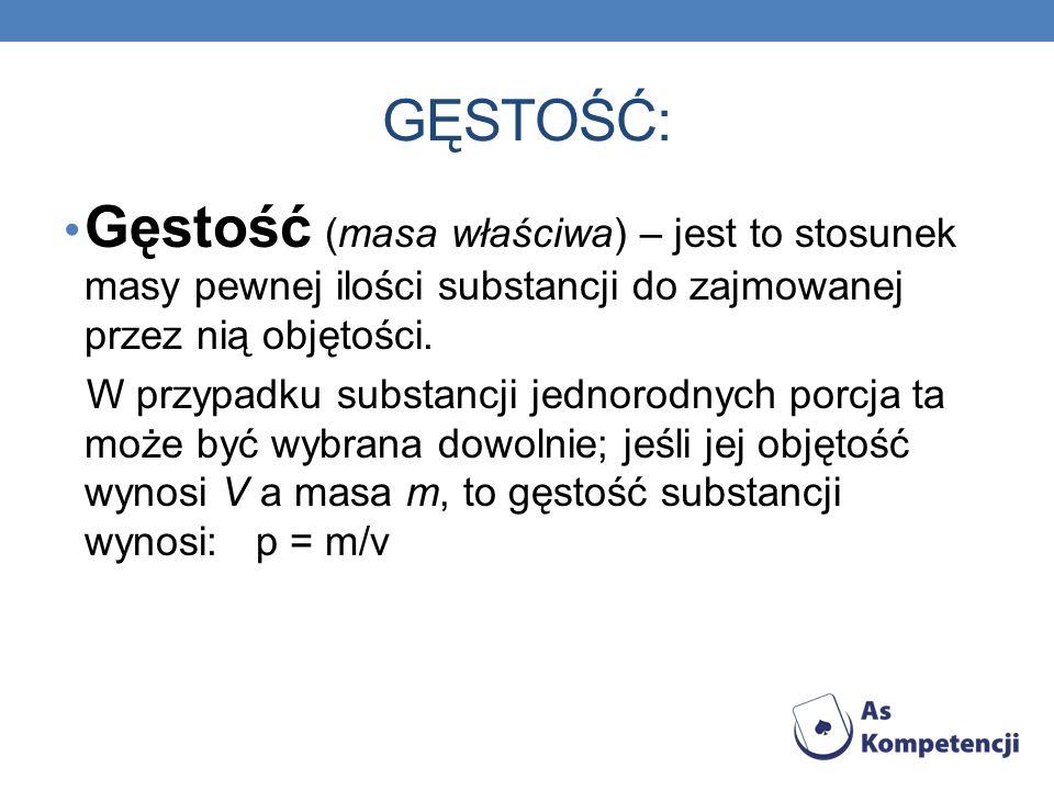 GĘSTOŚĆ: Gęstość (masa właściwa) – jest to stosunek masy pewnej ilości substancji do zajmowanej przez nią objętości.