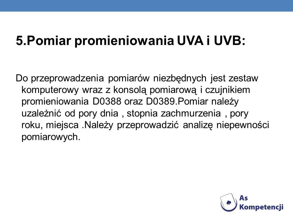 5.Pomiar promieniowania UVA i UVB: