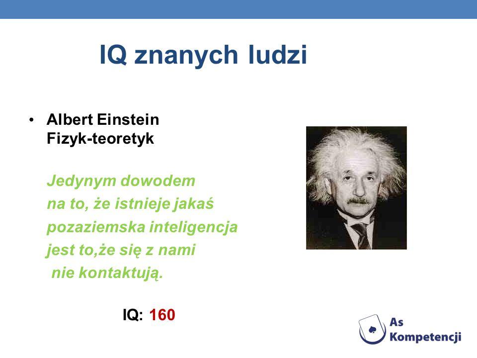 IQ znanych ludzi Albert Einstein Fizyk-teoretyk Jedynym dowodem