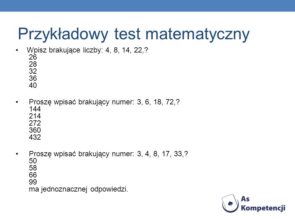 Przykładowy test matematyczny