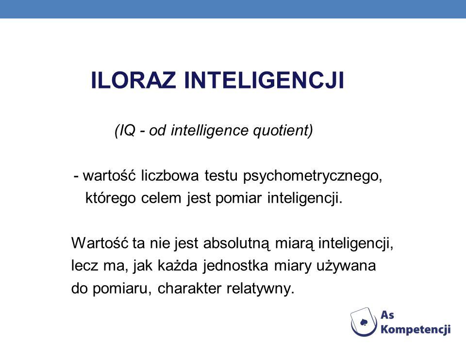 ILORAZ INTELIGENCJI (IQ - od intelligence quotient) - wartość liczbowa testu psychometrycznego, którego celem jest pomiar inteligencji.