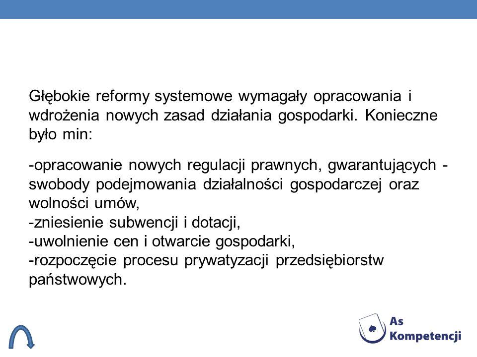 Głębokie reformy systemowe wymagały opracowania i wdrożenia nowych zasad działania gospodarki.