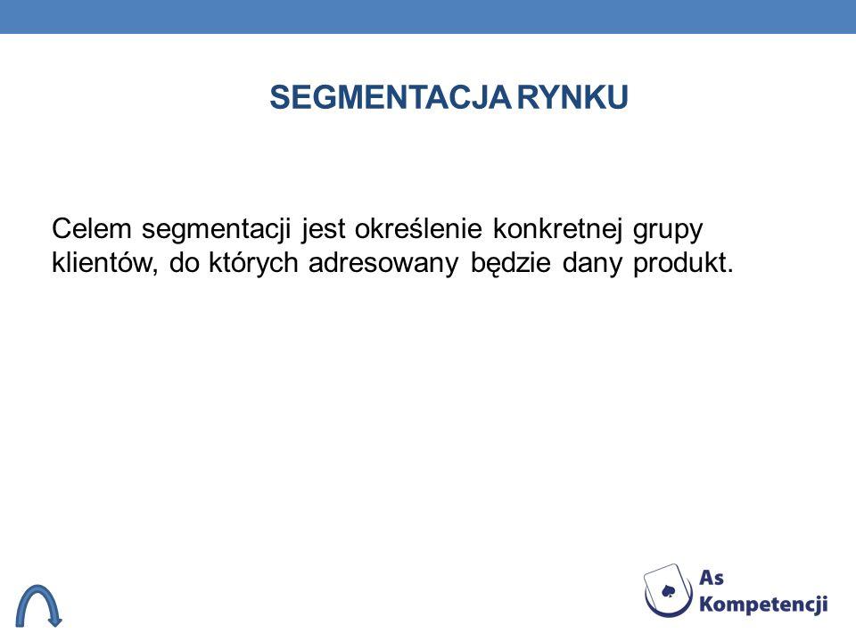 Segmentacja rynkuCelem segmentacji jest określenie konkretnej grupy klientów, do których adresowany będzie dany produkt.