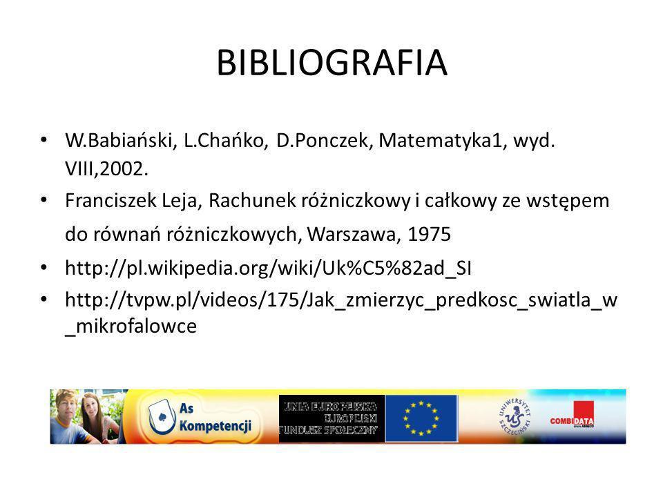 BIBLIOGRAFIA W.Babiański, L.Chańko, D.Ponczek, Matematyka1, wyd. VIII,2002.