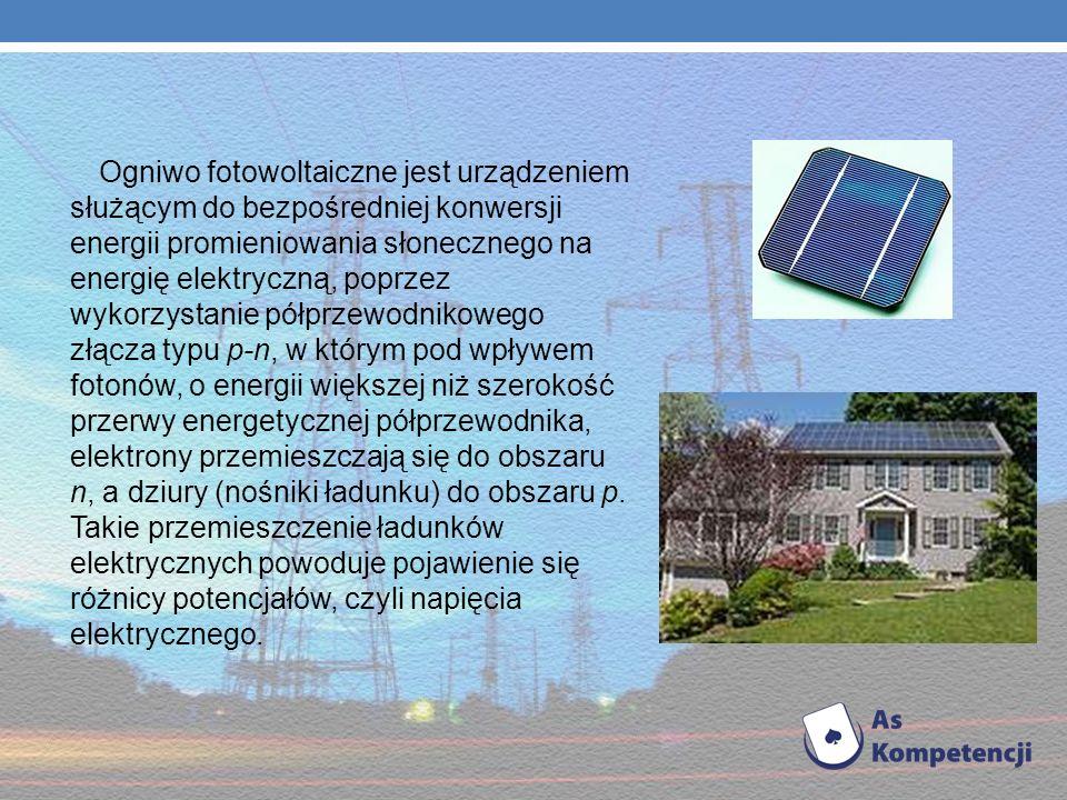 Ogniwo fotowoltaiczne jest urządzeniem służącym do bezpośredniej konwersji energii promieniowania słonecznego na energię elektryczną, poprzez wykorzystanie półprzewodnikowego złącza typu p-n, w którym pod wpływem fotonów, o energii większej niż szerokość przerwy energetycznej półprzewodnika, elektrony przemieszczają się do obszaru n, a dziury (nośniki ładunku) do obszaru p.