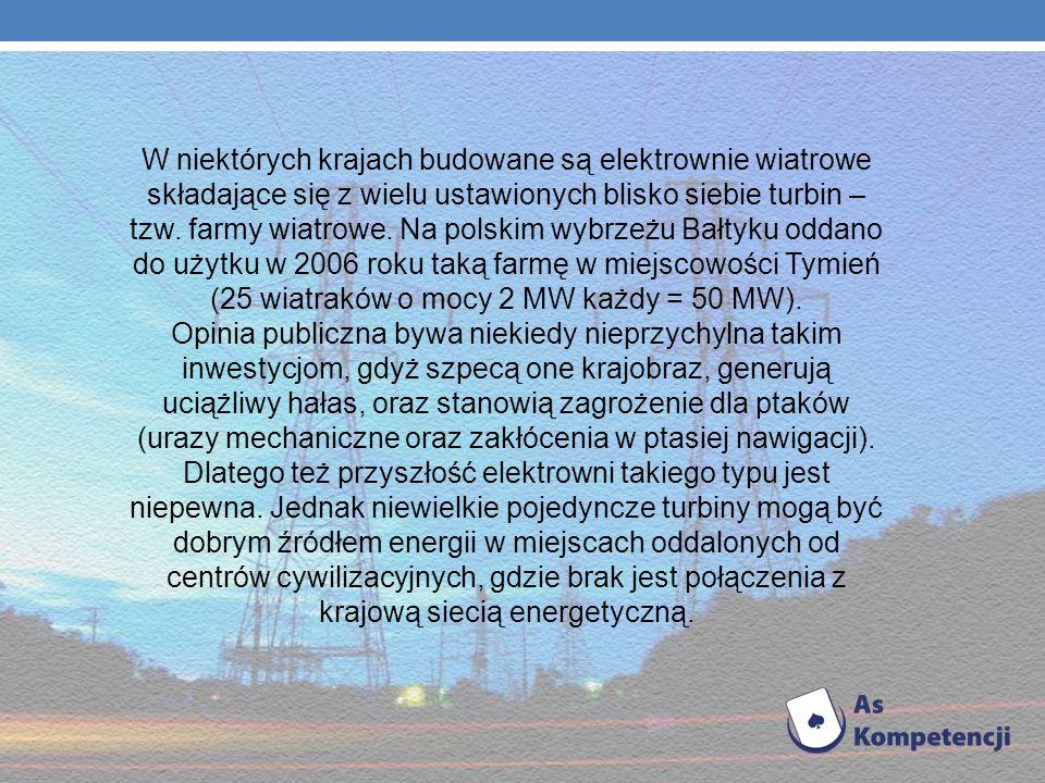 W niektórych krajach budowane są elektrownie wiatrowe składające się z wielu ustawionych blisko siebie turbin – tzw. farmy wiatrowe. Na polskim wybrzeżu Bałtyku oddano do użytku w 2006 roku taką farmę w miejscowości Tymień (25 wiatraków o mocy 2 MW każdy = 50 MW).