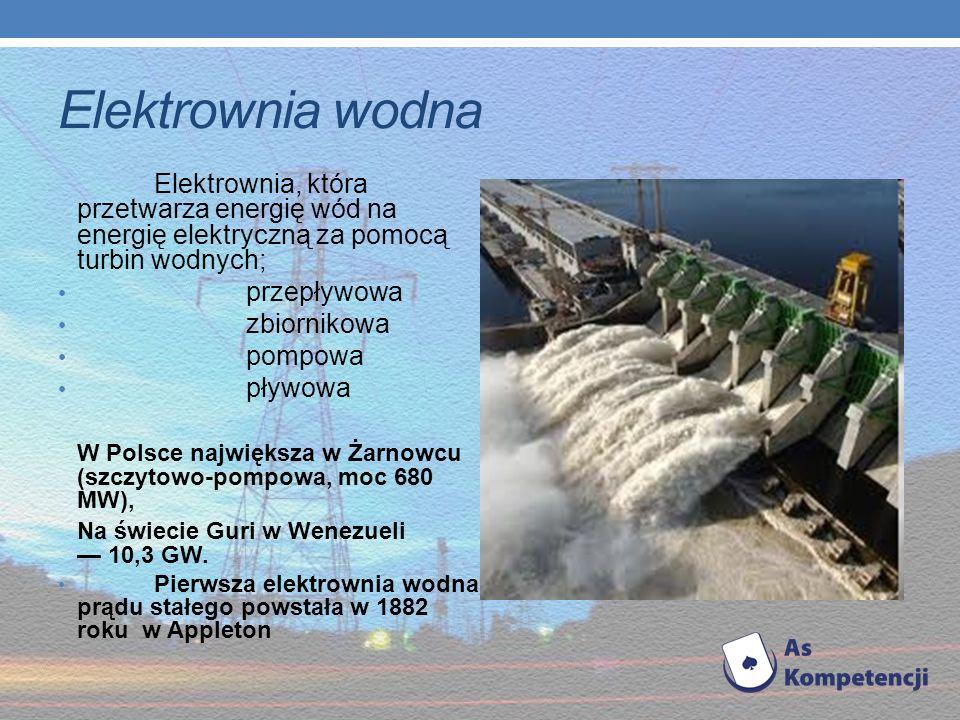 Elektrownia wodna Elektrownia, która przetwarza energię wód na energię elektryczną za pomocą turbin wodnych;