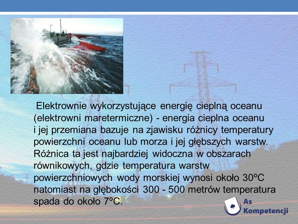 Elektrownie wykorzystujące energię cieplną oceanu (elektrowni maretermiczne) - energia cieplna oceanu i jej przemiana bazuje na zjawisku różnicy temperatury powierzchni oceanu lub morza i jej głębszych warstw.