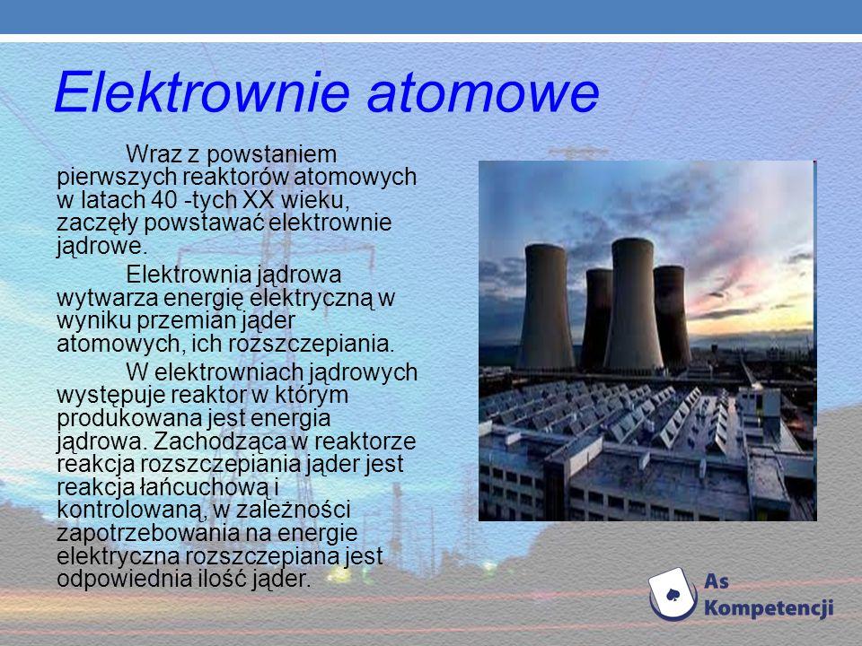 Elektrownie atomowe Wraz z powstaniem pierwszych reaktorów atomowych w latach 40 -tych XX wieku, zaczęły powstawać elektrownie jądrowe.