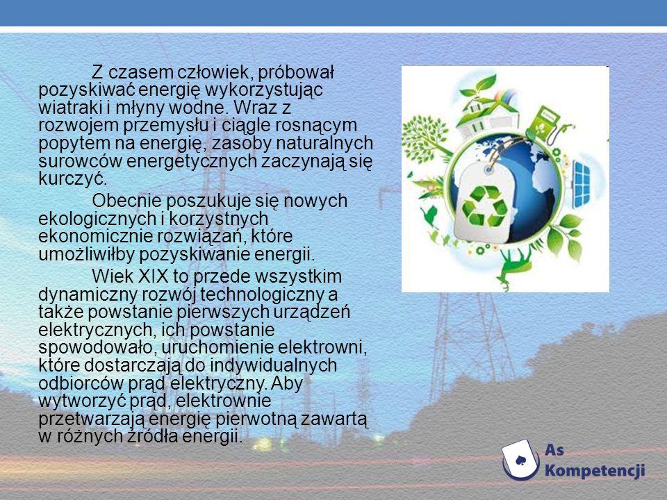 Z czasem człowiek, próbował pozyskiwać energię wykorzystując wiatraki i młyny wodne. Wraz z rozwojem przemysłu i ciągle rosnącym popytem na energię, zasoby naturalnych surowców energetycznych zaczynają się kurczyć.
