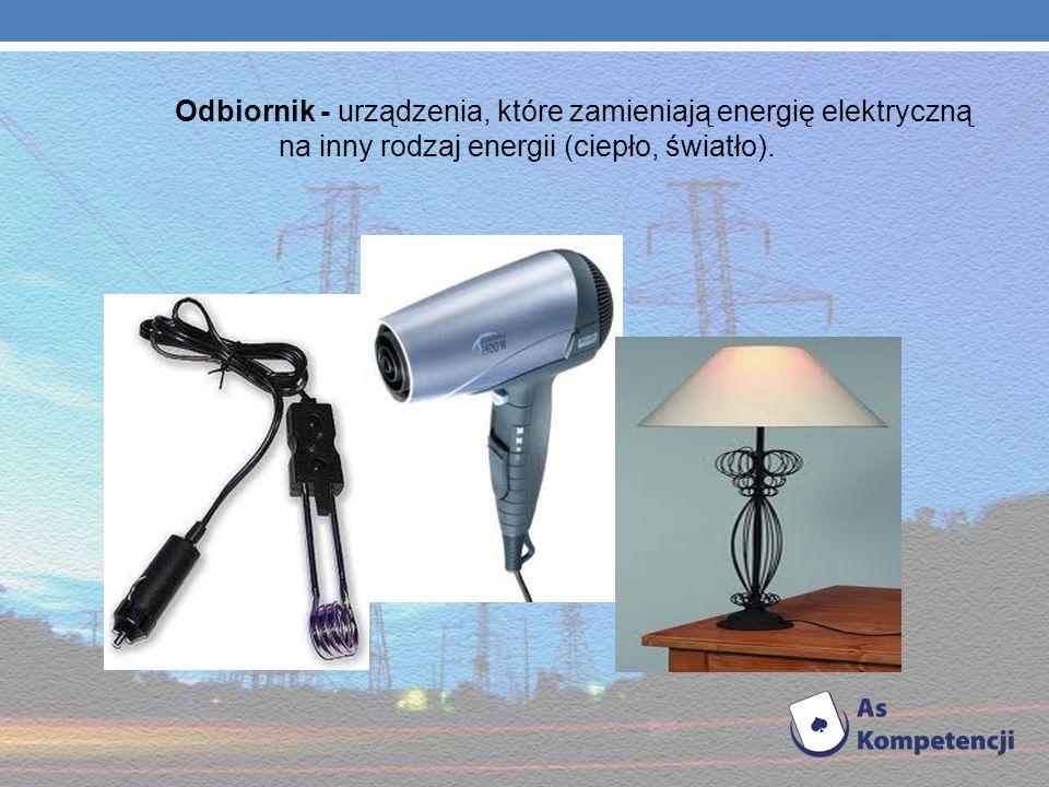 Odbiornik - urządzenia, które zamieniają energię elektryczną na inny rodzaj energii (ciepło, światło).