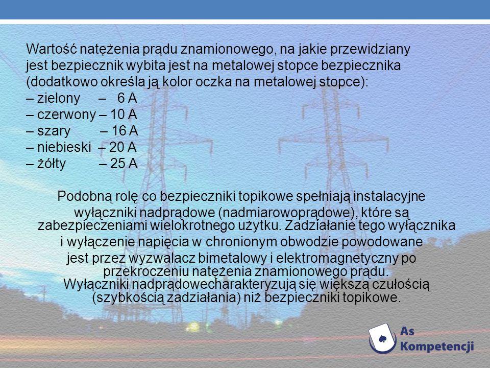 Wartość natężenia prądu znamionowego, na jakie przewidziany