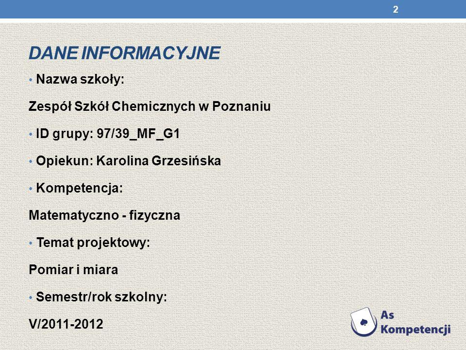 Dane INFORMACYJNE Nazwa szkoły: Zespół Szkół Chemicznych w Poznaniu