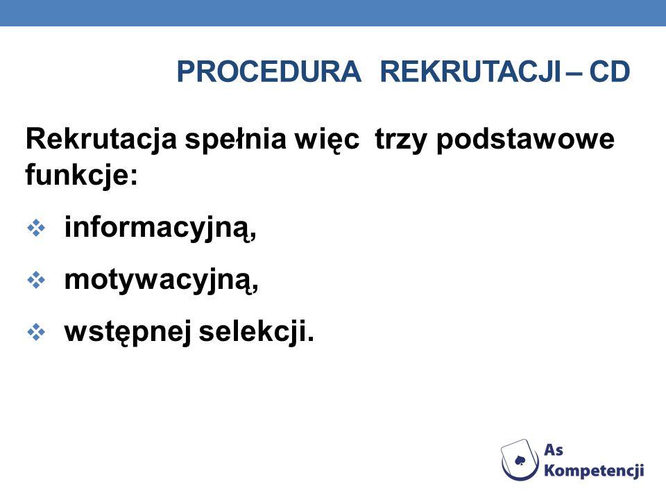 Procedura rekrutacji – cd