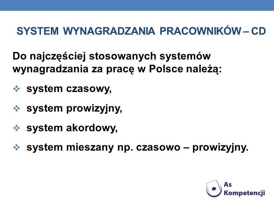 System wynagradzania pracowników – cd