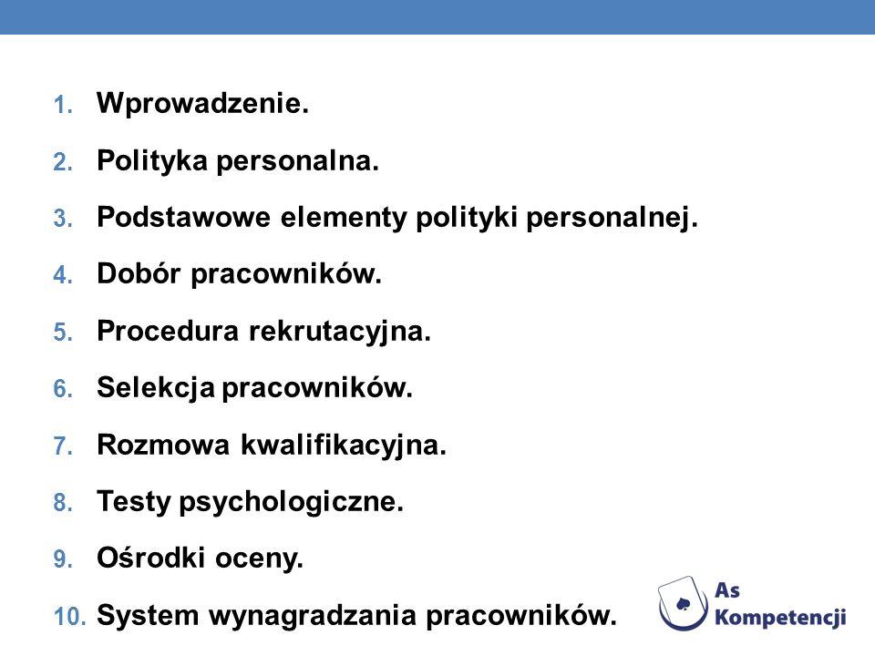 Wprowadzenie. Polityka personalna. Podstawowe elementy polityki personalnej. Dobór pracowników. Procedura rekrutacyjna.